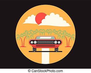 wóz, wektor, ilustracja
