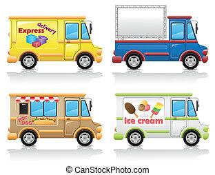 wóz, wektor, komplet, ilustracja, ikona