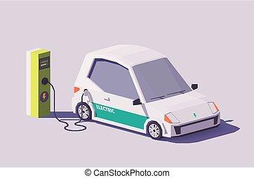 wóz, wektor, niski, poly, elektryczny