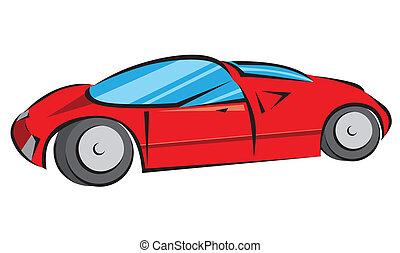 wóz, wektor, nowoczesny, czerwony, ilustracja