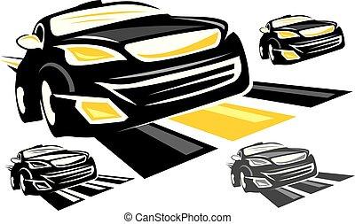 wóz, wektor, projektować, szablon, logo, sport