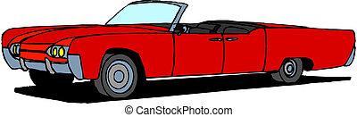 wóz, wektor, retro, czerwony
