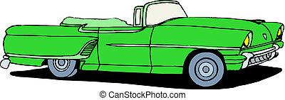 wóz, wektor, retro
