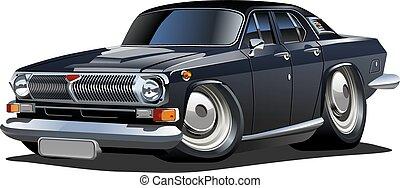 wóz, wektor, rysunek, retro