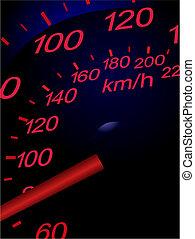 wóz, wektor, sport, ilustracja, speedometer.
