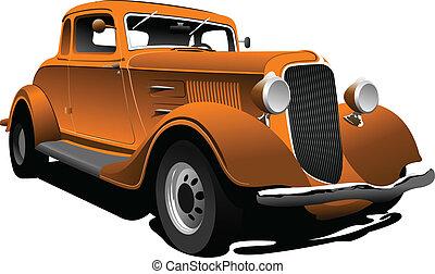 wóz., wektor, stary, zły, sedan., pomarańcza