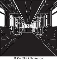 wóz, wnętrze, pociąg, metro