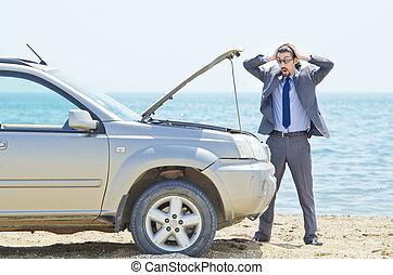 wóz, wybrzeże, człowiek