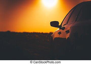wóz, zachód słońca, droga, napędowy