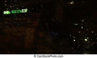 wóz, zamazany, okno, ulica, tło, noc, krople deszczu