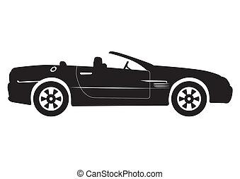 wóz, zamienny, wektor, czarnoskóry, illust