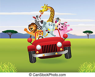 wóz, zwierzęta, czerwony, afrykanin
