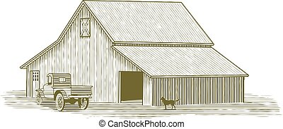 wózek, drzeworyt, stodoła