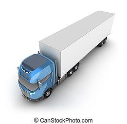 wózek, nowoczesny, kontener, ładunek
