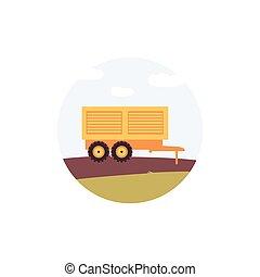 wózek, rolnictwo, bok, maruder, żółty, maszyna, prospekt, ...
