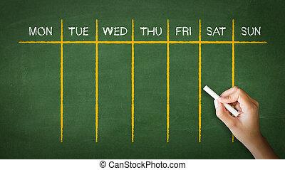 wöchentlich, kalender, kreide zeichnen