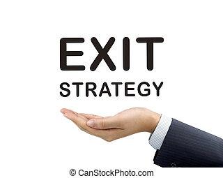 wörter, geschäftsmann, hand, ausgang, besitz, strategie