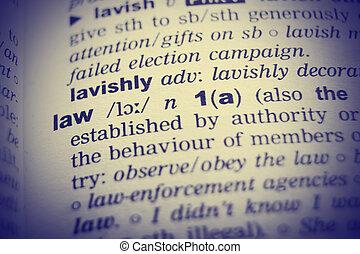 wörterbuch, definition, von, der, wort, gesetz, mit, vignetting, effect.