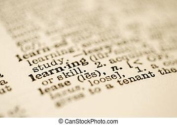 wörterbuch, eintrag, für, learning.