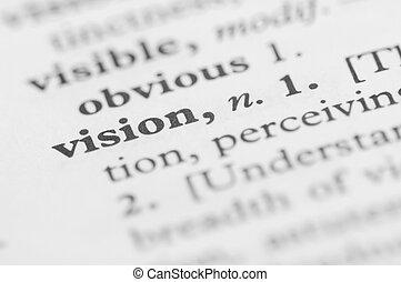 wörterbuch, reihe, -, vision