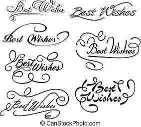 wünsche, am besten, elemente, calligraphic