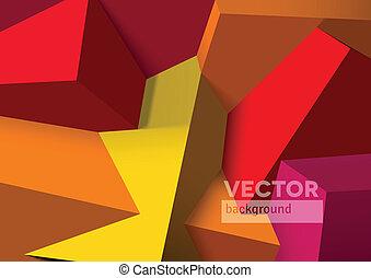 würfel, abstrakt, gelber , ubergreifen, hintergrund, rotes