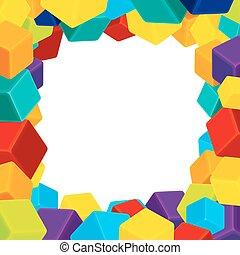 würfel, bunte, rahmen, geometrisch, vektor, hintergrund