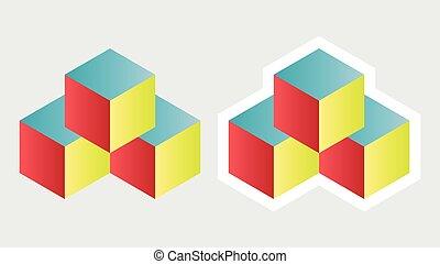 würfel, isometrisch, logo, mauerstein, begriff, 3d, spielwürfel, abbildung, vektor, block, ikone