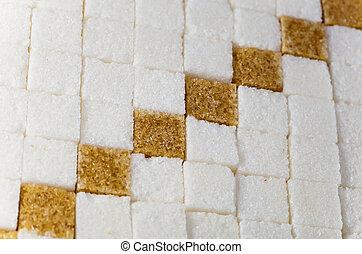 würfel, von, not, verfeinert, schilfgras, zucker, und, raffinierter zucker