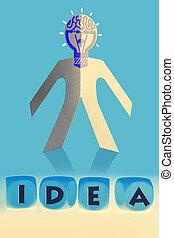 würfel, wort, idee, papier, front, mann