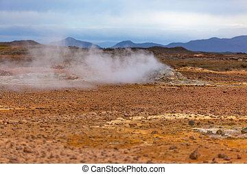 wüste, an, geothermisch, bereich, hverir, island