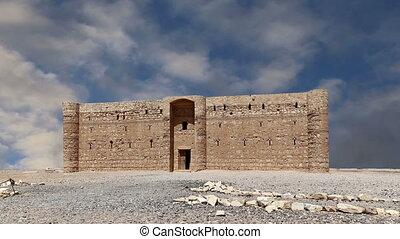 wüste, hofburg, in, östlich, jordanien