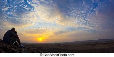 wüste, sonnenaufgang