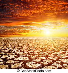 wüste, und, roter sonnenuntergang