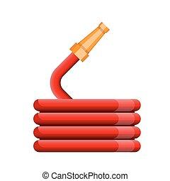 wąż gumowy, ogień, wektor, szpula, czerwony, ikona