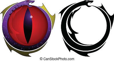 wąż, oko, capstrzyk