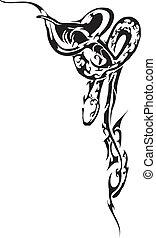 wąż, wektor, -, kobra
