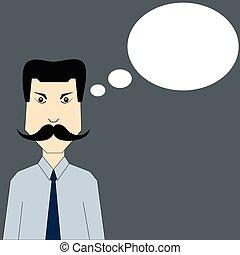 wąsy, człowiek
