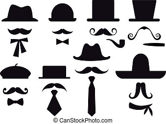 wąsy, i, kapelusze, wektor, komplet