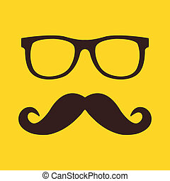 wąsy, ikona, okulary, wektor