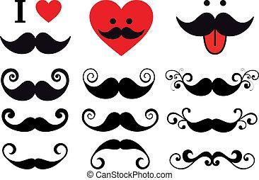 wąsy, projektować, komplet, wektor