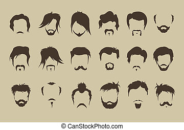 wąsy, set., wektor, włosy, broda