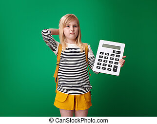wątpiąc, szkoła, kalkulator, odizolowany, zielony, dziewczyna