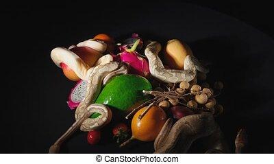 węże, obracający, owoce, egzotyczny, polowanie