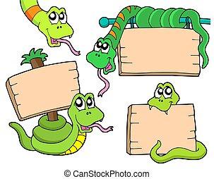 węże, z, drewniany, znaki