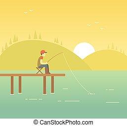 wędkarski, ilustracja, jezioro