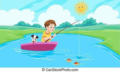 wędkarski, jezioro, ilustracja