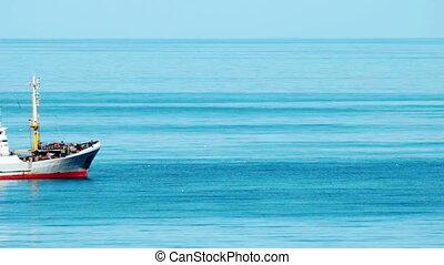 wędkarski, statek, na morzu