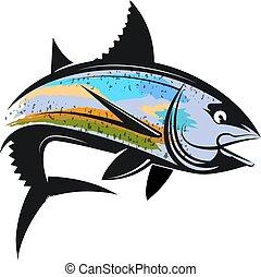 wędkarski, tuńczyk, sylwetka