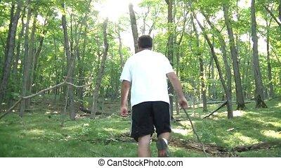 wędruje, zielony las, człowiek